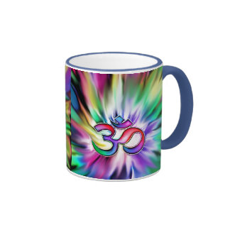 Arco iris floreciente Lotus OM Taza De Dos Colores