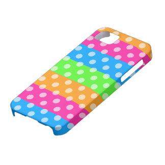 Arco iris fluorescente con los lunares iPhone 5 protectores