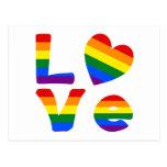 Arco iris gay del amor tarjeta postal