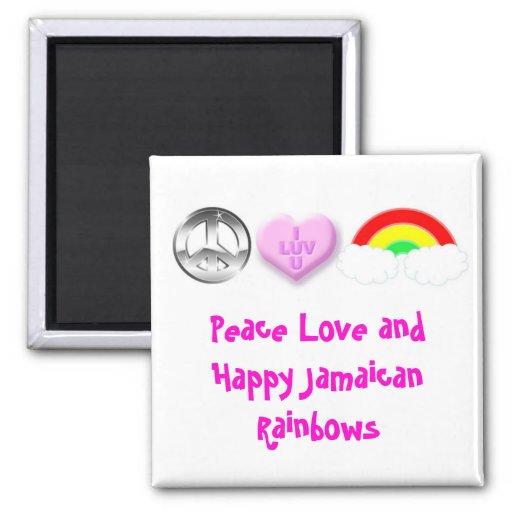 Arco iris jamaicanos felices imán de frigorifico