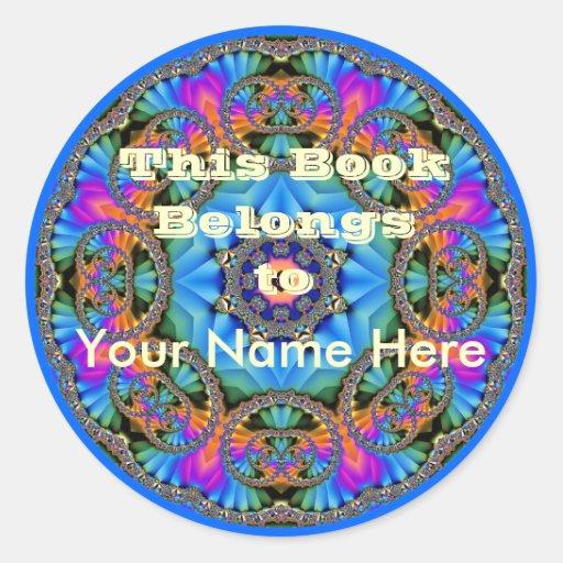 Arco iris Jewelled 1 placa de libro Pegatina Redonda