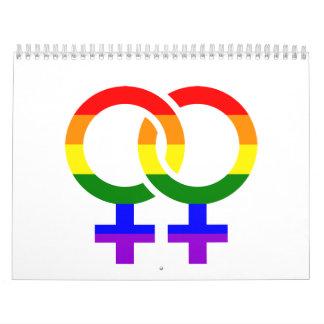 Arco iris lesbiano femenino calendario de pared
