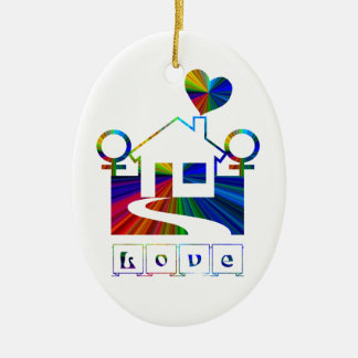 Arco iris lesbiano hogar-con proverbio adorno ovalado de cerámica
