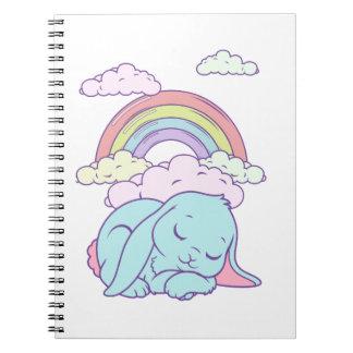Arco iris lindo del conejo de conejito del dibujo  libros de apuntes con espiral