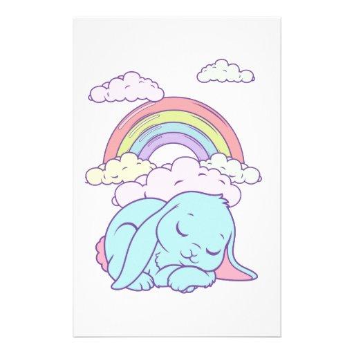 Arco iris lindo del conejo de conejito del dibujo   papeleria de diseño