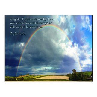 Arco iris lleno del 128:5 del salmo tarjetas postales