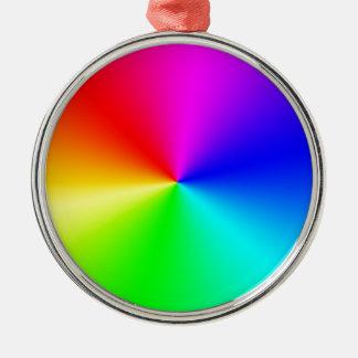 Arco iris lleno del espectro adorno navideño redondo de metal