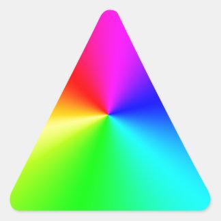Arco iris lleno del espectro pegatina triangular
