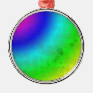 Arco iris manchado agua adorno navideño redondo de metal