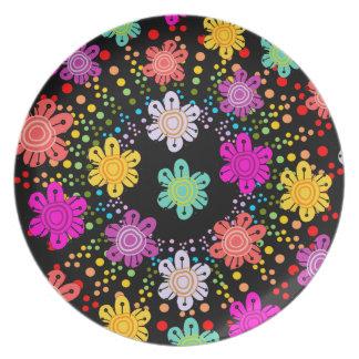Arco iris manchado Starburst + placa floral decora Plato
