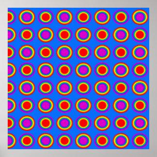 Arco iris maravilloso de círculos concéntricos póster