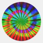 Arco iris maravilloso del teñido anudado pegatina redonda