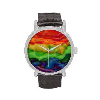 Arco iris maravilloso enrrollado reloj de mano