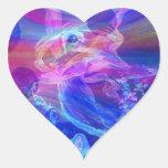 Arco iris, mariposa, ángel pegatina en forma de corazón