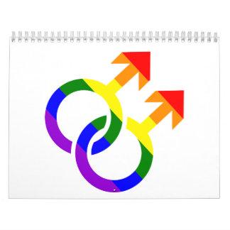 Arco iris masculino gay calendario de pared