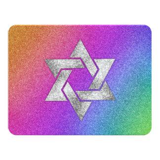 """Arco iris muy colorido de Mitzvah del palo con la Invitación 4.25"""" X 5.5"""""""