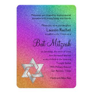 """Arco iris muy colorido de Mitzvah del palo con la Invitación 5"""" X 7"""""""