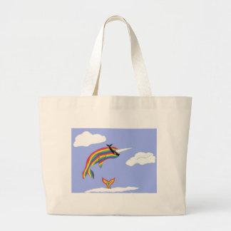 Arco iris Ninja Narwhal que vuela Bolsa Tela Grande