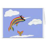 Arco iris Ninja Narwhal que vuela Felicitacion