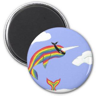 Arco iris Ninja Narwhal que vuela Imán Redondo 5 Cm