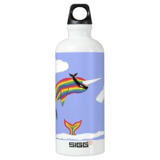 Arco iris Ninja Narwhal que vuela la botella