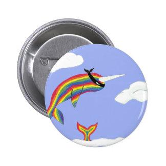 Arco iris Ninja Narwhal que vuela Pin Redondo De 2 Pulgadas