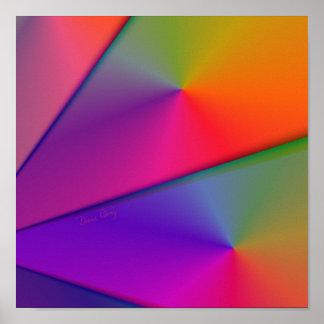 Arco iris Origami - remolinos del añil y de la mag Poster