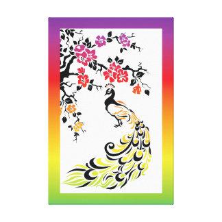 Arco iris, pavo real negro y flores de cerezo lona estirada galerias