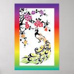 Arco iris, pavo real negro y flores de cerezo impresiones