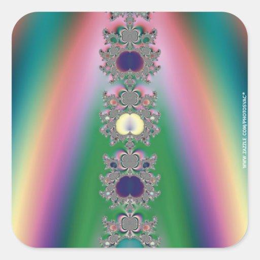 Arco iris pegatina cuadrada