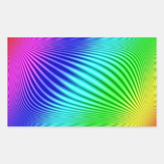 Arco iris pegatina rectangular
