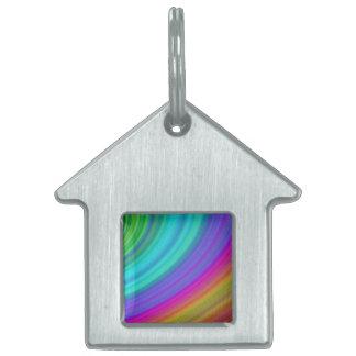 Arco iris placa de nombre de mascota