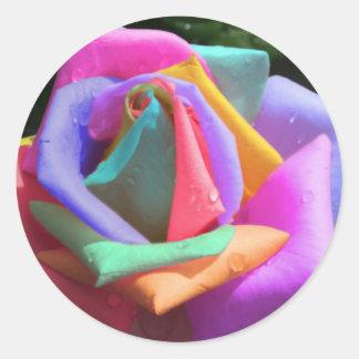Arco iris psicodélico subió etiqueta redonda