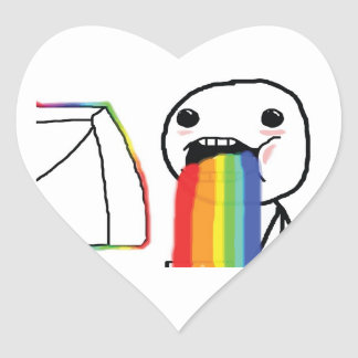 Arco iris Puking Pegatina En Forma De Corazón