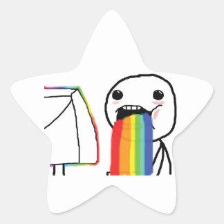 Arco iris Puking Pegatina En Forma De Estrella