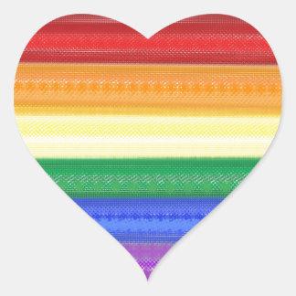 Arco iris punteado pegatina en forma de corazón
