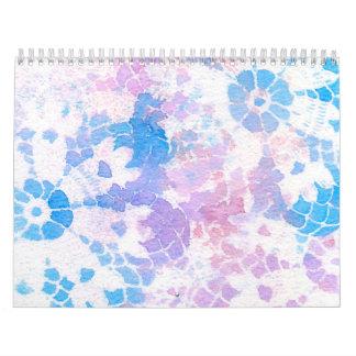 Arco iris púrpura azul del teñido anudado de la calendario