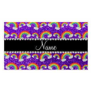 Arco iris púrpuras personalizados del brillo del a tarjetas de visita