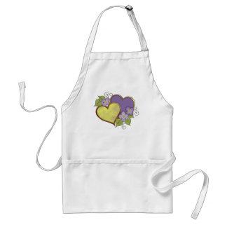 Arco iris púrpuras y amarillos delantales