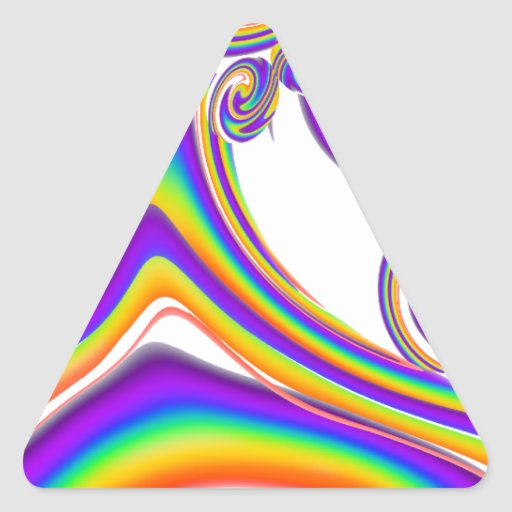 Arco iris que remolinan pegatina triangular