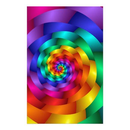 Arco iris que tuerce en espiral subió papelería personalizada
