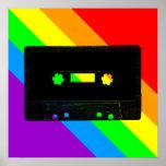 Arco iris retro de la cinta de casete del tigre 80 impresiones