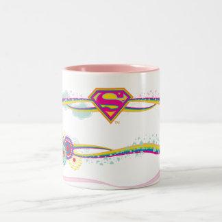 Arco iris retro de Supergirl Taza De Café De Dos Colores