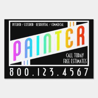 arco iris retro del pintor cartel