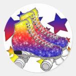 Arco iris Rollerskates Etiquetas Redondas