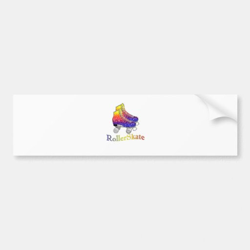 Arco iris Rollerskates Pegatina De Parachoque