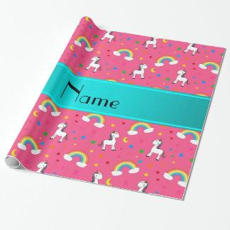Arco iris rosados conocidos personalizados de los papel de regalo