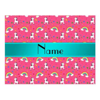 Arco iris rosados conocidos personalizados de los postal