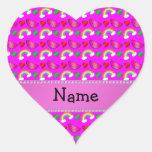 Arco iris rosados de neón conocidos de encargo de  pegatina de corazon