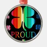 Arco iris RoyGeeBiv - LGBT del trébol de cuatro ho Ornamentos Para Reyes Magos